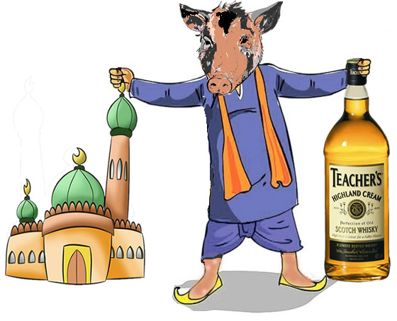 mosque and alcohol holding pig